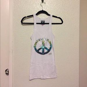 Victoria's Secret PINK peace sign sequin tank