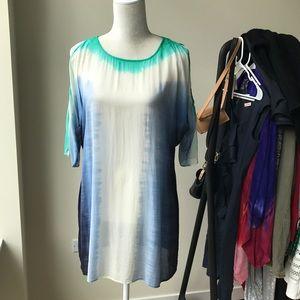 Calypso 100% Silk Swim Cover Cold Shoulder Tunic
