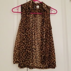 H&M Sheer Animal Print Sleeveless Blouse
