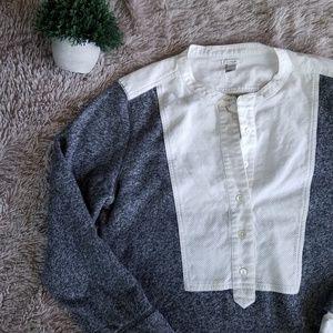 EUC J. Crew Sz M Gray/White Button Shirt