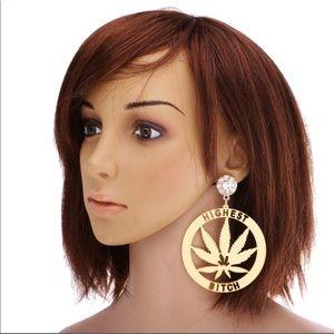 Jewelry - GOLD PLATED EARRINGS WITH A DIAMOND STUD&BUD LEAF