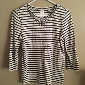 J. Crew stripe top with bling