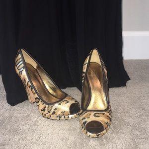 COACH Ashley Gold Sequin Animal Peep Toe Heels