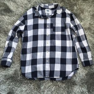 Old Navy blue buffalo check plaid button down