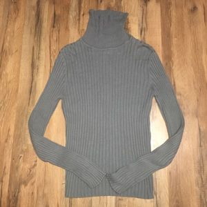J. CREW turtleneck ribbed dusty blue sweater