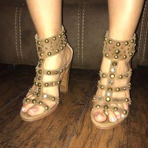 Aldo tan studded heels