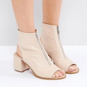 ASOS RASPBERRY Nude Leather Zip Shoe Boots