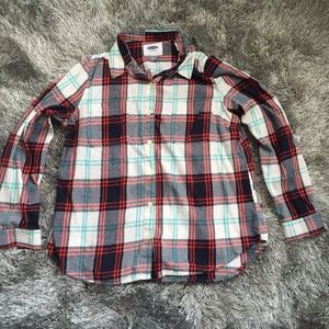 Old Navy blue and red plaid button down