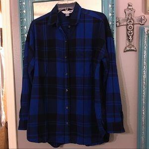 Old Navy Flannel Cobalt Blue Boyfriend Fit Shirt