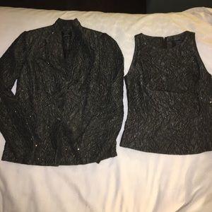 Carmen Marc valvo sz 6 2 pc  beaded jacket & shell