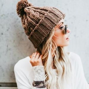 Taupe Cable Knit Beanie Hat