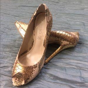 ALDO gold and buff snakeskin platform heels