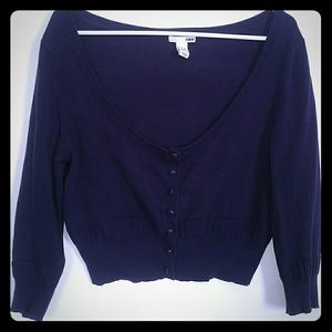 H&M Deep purple crop cardigan