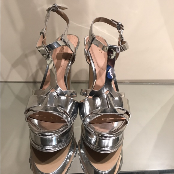25976bd2787 Aldo Silver Platform Chelly Tribute Sandals