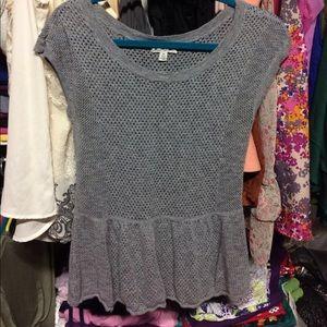 Gray sweater peplum top