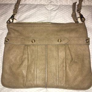 "Beige ""leather"" crossbody purse"