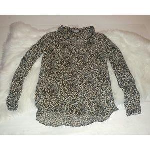 Zara Basic cheetah print long sleeve button down