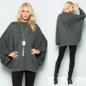 DYLAN Poncho Style Tunic Top - CHARCOAL