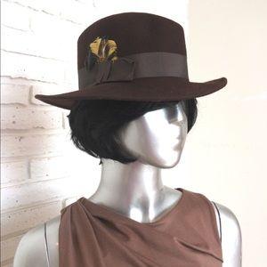 Women's Vintage Brown Wool Winter Fedora Hat