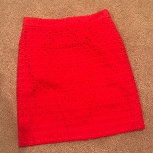 J crew red pencil skirt. Size 2 Petite.