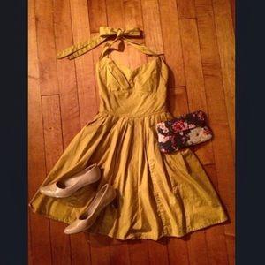 Eshakti Retro Goldenrod Brooklyn Halter Dress