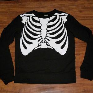 H&M Black Sweater Skeleton Rib Cage Top