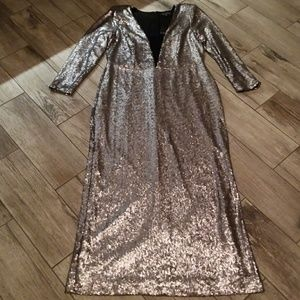 Silver sequin gown NWT