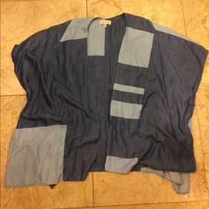 Cloth and stone patchwork chambray kimono