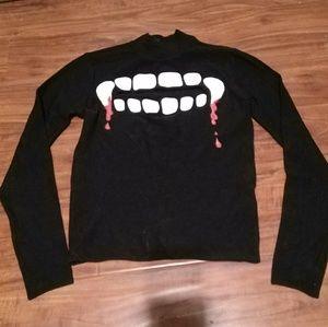 Motif Cut Out Spooky Bloody Teeth Sweater Top