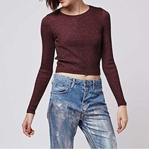 Diagonal Rib Long Sleeve Burgundy Knitted Crop Top