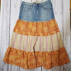 Mudd Girls Denim Patchwork Gypsy Skirt