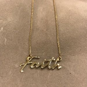 "10K Yellow Gold 18"" Faith Pendant Necklace"