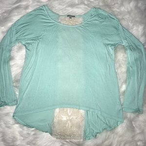 Charlotte Russe Lacey Long Sleeve Top Large