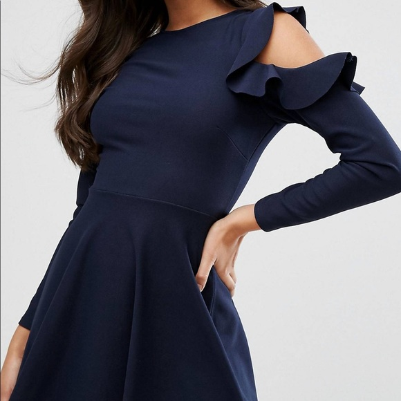 Asos Dresses - Lipsy/ASOS Navy Skater Dress with Cutout Shoulder