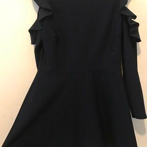 Asos Dresses - Lipsy/ASOS Navy Skater Dress with Cutout Shoulder