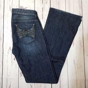 Guess Foxy Flare Stretch Flare Leg Dark Wash Jeans