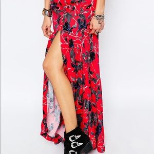 NEW Free People Floral Split Maxi Skirt
