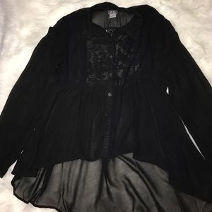 Sheer Black Lace Blouse Large