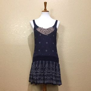 Free People Silk Boho Print Drop Waist Tank Dress