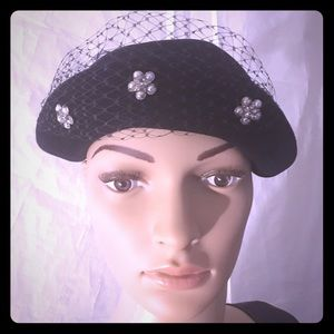 Vintage Navy Blue fancy hat with floral rhinestone