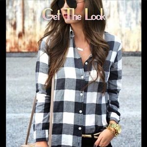 Flannel Plaid Pullover Long sleeve Top