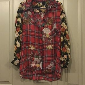 Bella Sky plaid and floral blouse