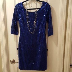 Dresses & Skirts - Sapphire blue sequin cocktail party dress