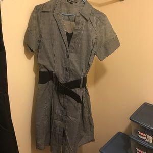 Black pinstripe shirt dress