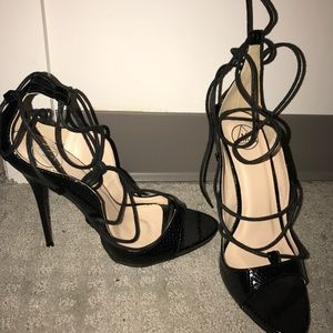 Size 7 MISSGUIDED BLACK LACE UP HEELS