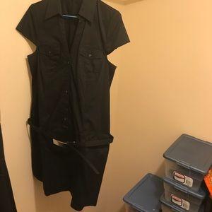 Black mini dress with metal buckle belt