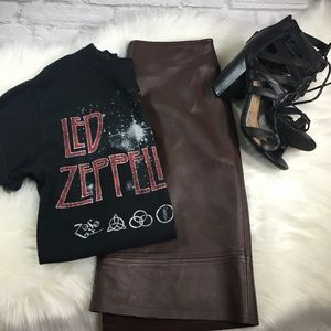 Dresses & Skirts - Cute Brown High Waisted Leather Skirt