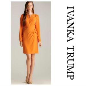 Ivanka Trump Orange Wrap Dress Size 16