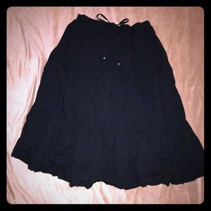 Black ankle length flowy A line skirt