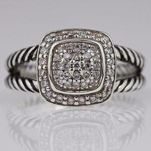 DAVID YURMAN 7mm Pave Diamond Albion Ring Size 6